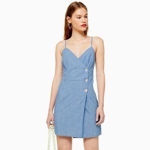TopShop Chambray Stripe Wrap Dress